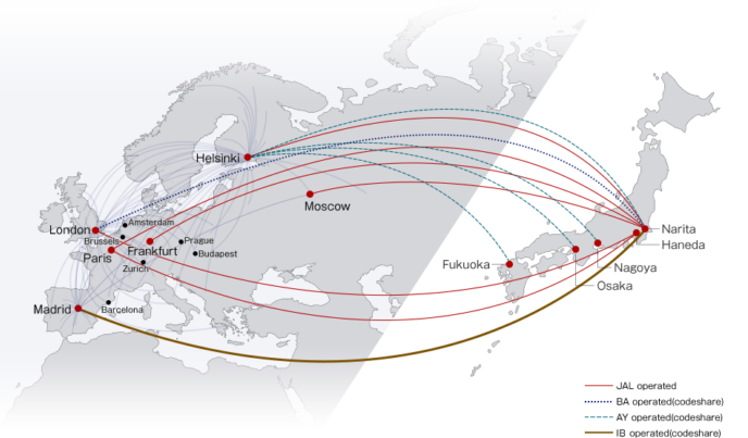 Jal Japan Airlines European Route Map