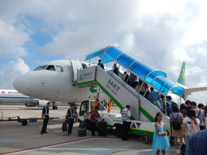 Spring Airline Aircraft With Passenger Boarding Stairs @ Pvg