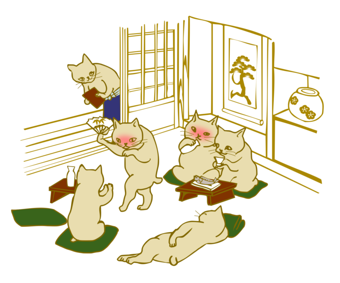Drinking Session Cats Japanese Ukiyo E Style