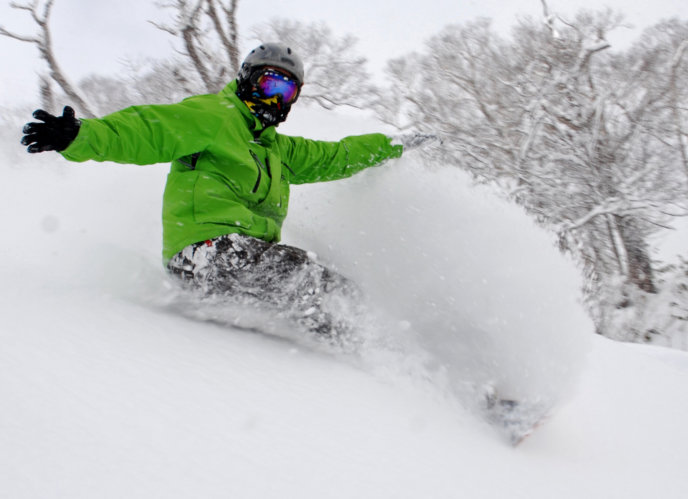 Green Snowboarder Winter Awesome Powder