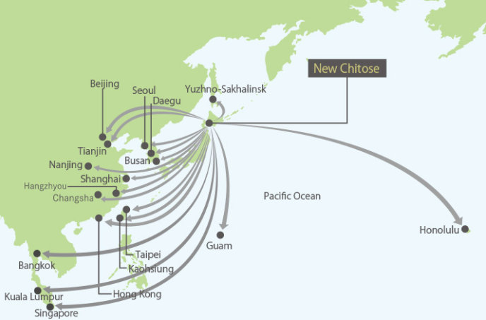 New Chitose Airport International Flight Map
