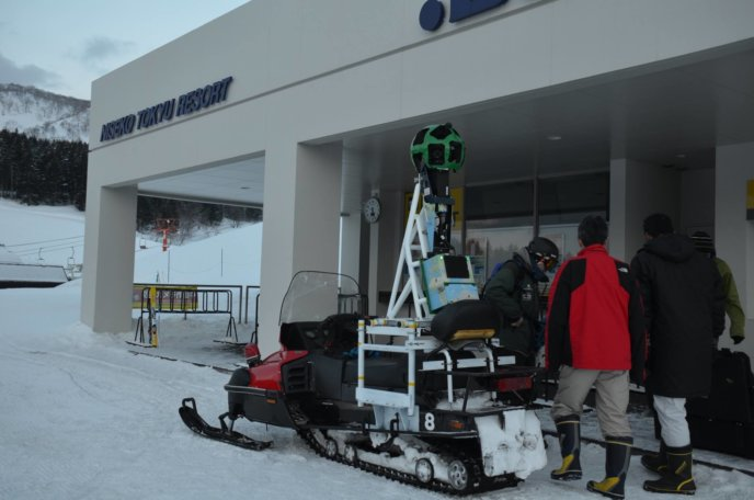 Google snowmobile in Niseko capturing Street View images