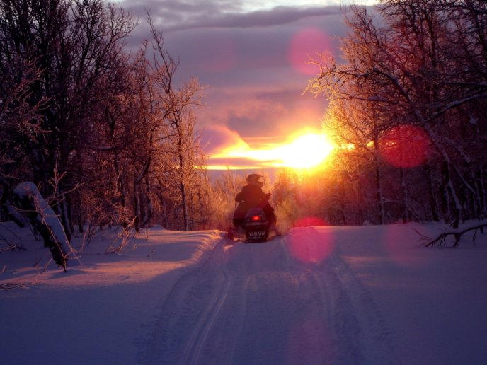 Snowmobiling as the sun sets