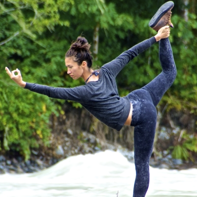 Kanami Anderson Powder Yoga Posing Riverbed