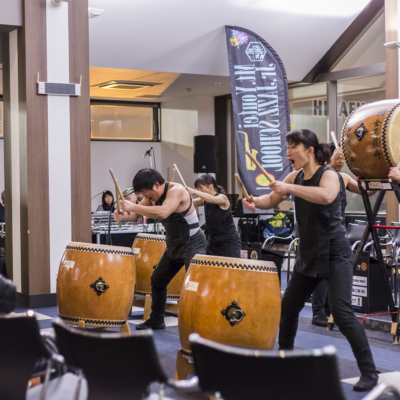 Not stop action of the Koryu Taiko Drummers.