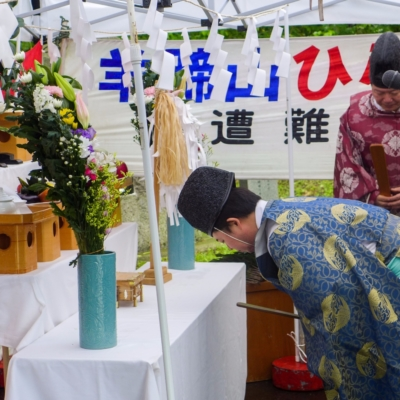 Mt Yotei Opening Ceremony Lake Hangetsu Start Kutchan Town June 2017 Spring 9 Priests Bowing To Alter