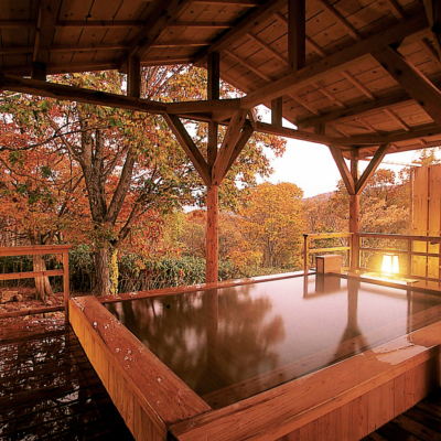 Weiss Hotel Onsen Outdoor Rotenburo Pool Autumn