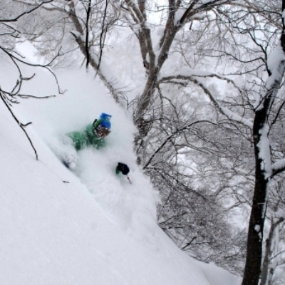 Skiing through Niseko Powder in the backcountry