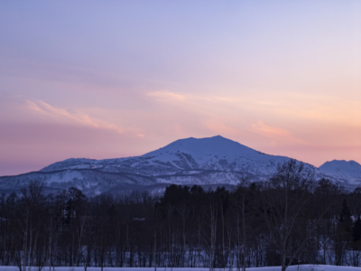 Pink Skies Over Mt  Annupuri As The Night Skiing Lights Come On