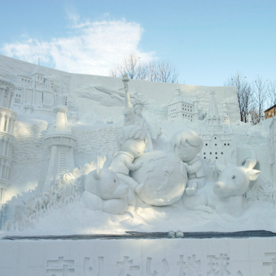 A worldly scene created in snow at the festival.