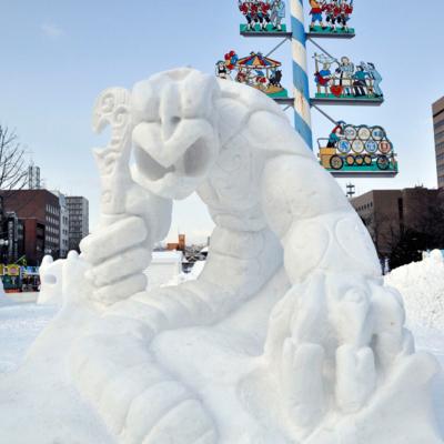 Ice sculpture creature.