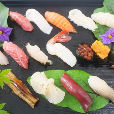An assortment of fresh sushi at Snow Castle